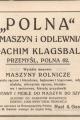dokument świadczący o dacie powstania Polnej - 1899